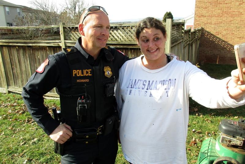 Harrisonburg Police Department Sergeant Ron Howard with Mandy McCarthy.