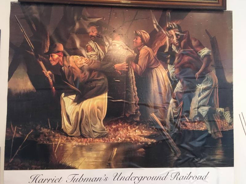 This depiction of Tubman and the Underground Railroad confronts visitors just inside the entrance.