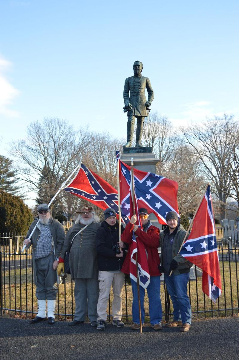 "Thomas Morris, Tom Myers, Kevin Witherell, Barry Isenhour and Jordy Barnette drove to Lexington from Tennessee and elsewhere in Virginia to honor their hero, Confederate Gen. Thomas ""Stonewall"" Jackson."