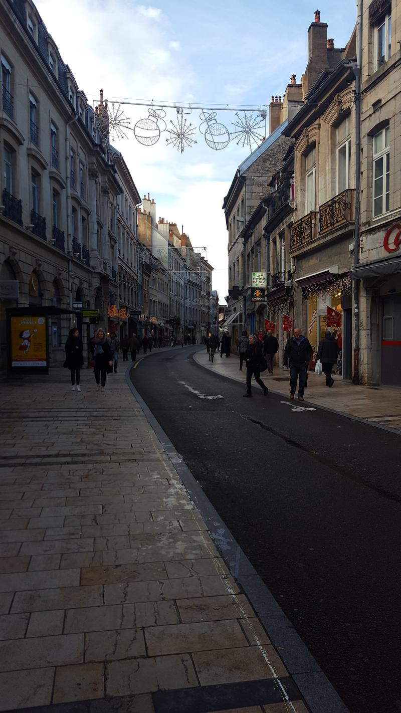 A part of the pedestrian downtown area of the city of Besançon.