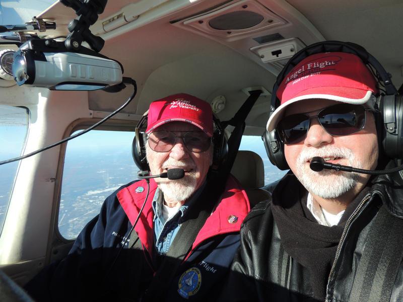 John Billings (left) and Nevin Showman in flight in December 2017.