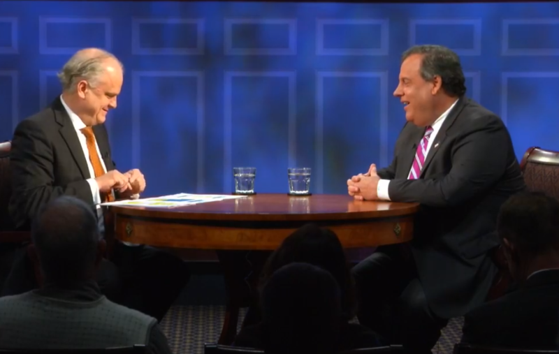 Douglas Blackmon (left), host of the American Forum, moderated the conversation with Christie.