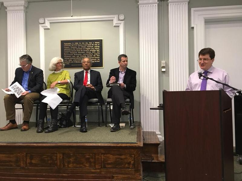 "The panelists were invited by the local League of Women Voters and Charlottesville Tomorrow for an ""educational event"" on Charlottesville governance. On the right: the second facilitator, Brian Wheeler, Executive Director of Charlottesville Tomorrow."