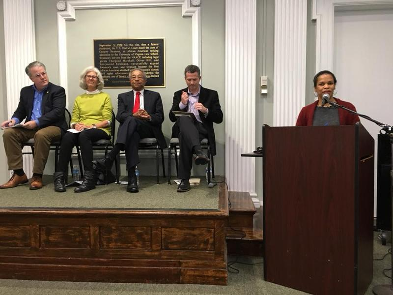 (L to R) Tom Walls, Sorensen Institute for Political Leadership; Bitsy Waters, former Charlottesville mayor; Charles Barbour, Charlottesville's first African-American mayor; Rich Schragger, UVA Law School professor; discussion facilitator Andrea Douglas.