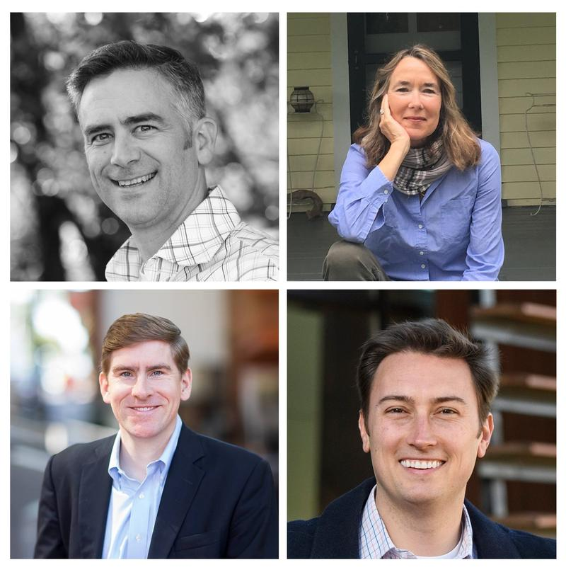 Democratic candidates (clockwise from top left):  Andrew Sneathern, Leslie Cockburn, Roger Dean Huffstetler and Ben Cullop are running to be the Democratic nominee for Virginia's 5th congressional district election.
