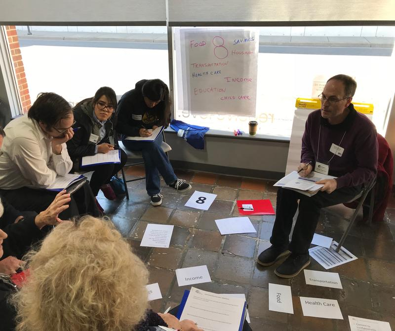 Aaron Hagmaier facilitates a group brainstorming ideas to help the ALICE population in Harrisonburg (Brenda Miramontes is sitting second from the left).