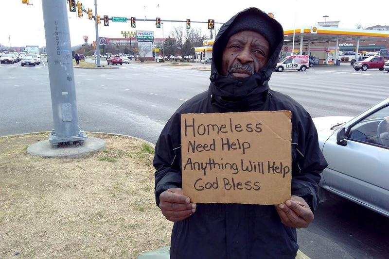 We first met Harold Walker, panhandling at the intersection of East Market Street and Burgess Road in Harrisonburg, in January 2018..