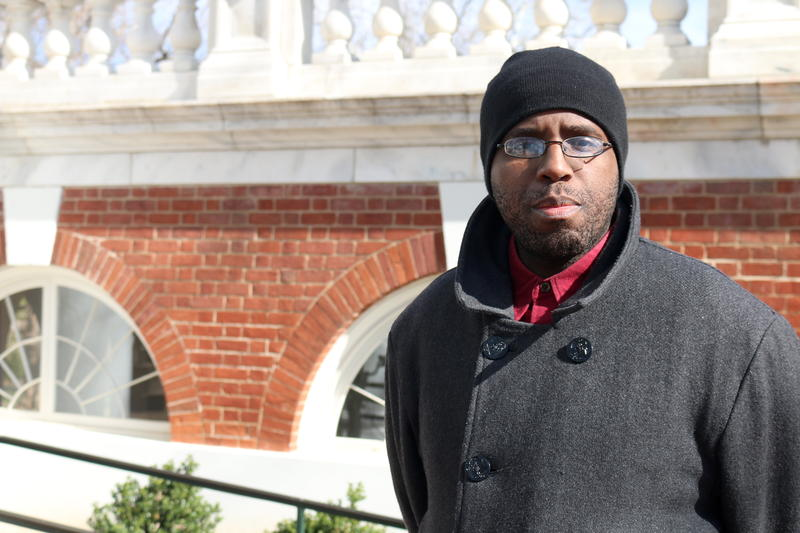 """Maurice Walker took a break from his job in UVA's Office of Diversity & Equity to join the walkout. He says a demonstration like this """"could plant a seed"""" for change by inspiring participants to eventually run for office."""