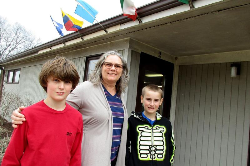 Nathan Pineo (left) and Marshall Nichols, here with Principal Maria Archer, are fourth graders at Eastern Mennonite Elementary School.