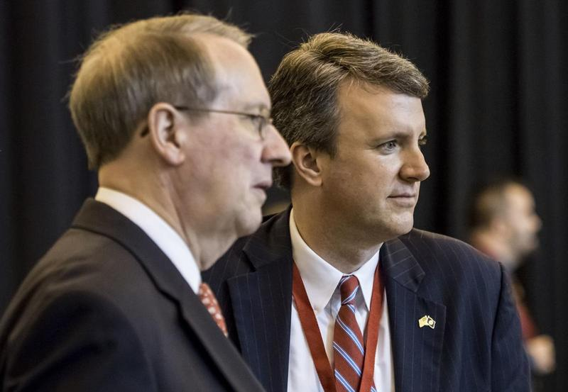 Republican Delegate Ben Cline, a former staffer for Representative Bob Goodlatte (l), was nominted on May 19 to be the GOP nominee to run for the Sixth District seat.