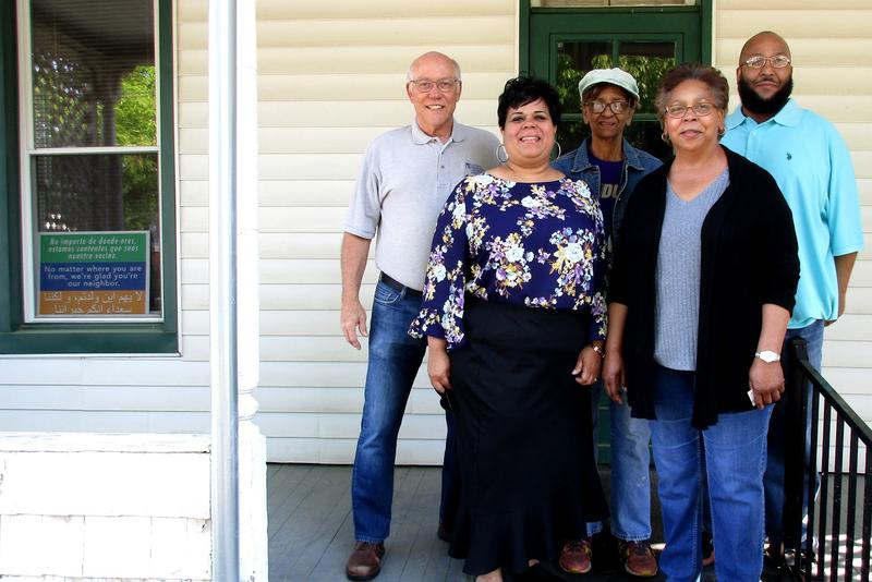 L to r:  Harrisonburg Mayor Deanna Reed, Northeast Neighborhood Association (NENA) Founder and President Karen Thomas, Board Member Eldon Kurtz, Organizer Steven Thomas and Board Member Sarah Sampson on the front porch of the Dallard-Newman House.