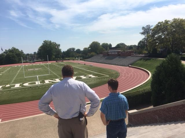 "The ""Handley Bowl"" in front of Handley High school, viewed by Principal Mike Dufrene and student Jeremiah Foltz."