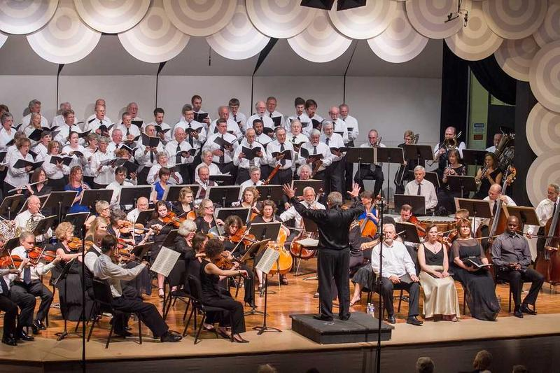 Ken Nafziger conducts the orchestra and choir at the Shenandoah Valley Bach Festival at Eastern Mennonite University in Harrisonburg.