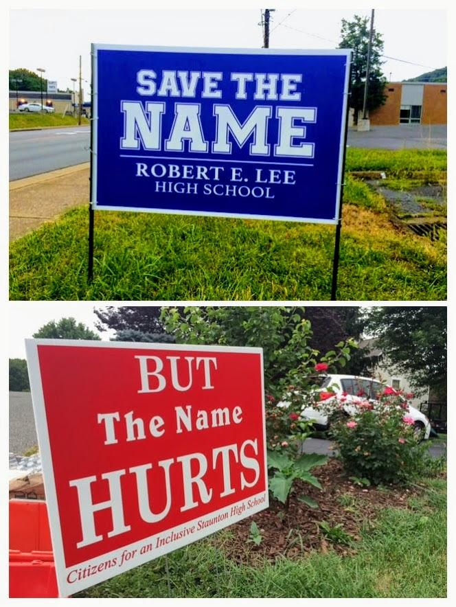 Dueling signs in Staunton.  Many of them have been stolen or vandalized by the other side.