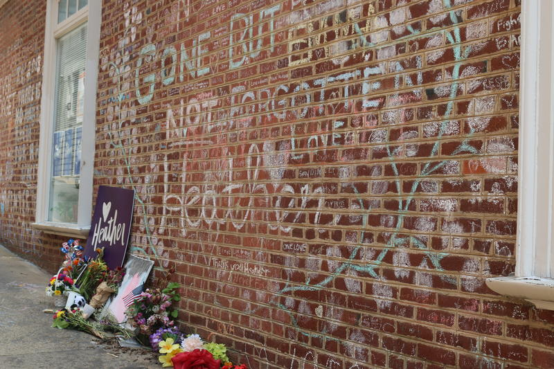 A memorial to Heather Heyer, the peaceful protestor who was hit by a car and killed near the pedestrian mall last year. This year, all roads leading into the mall will be closed to vehicular traffic.