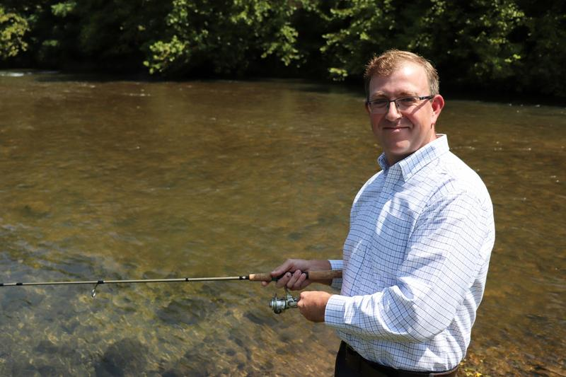 Waynesboro Public Schools database administrator Wills Kitchen fishes in the South River at Constitution Park in Waynesboro.