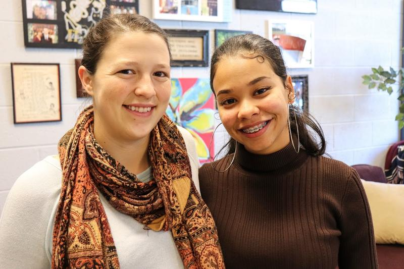 Mary Tolentino-Baez (right) is a student – and Hannah Bowman, a teacher – at Harrisonburg High School.
