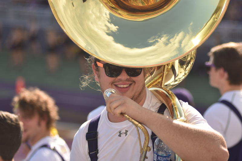 What will senior tuba player Andrew Foote do at the Macy's Thanksgiving Day appearance by the Marching Royal Dukes in New York City?