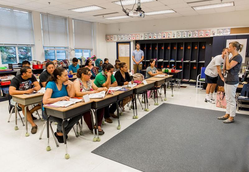 A beginner ESOL class at Waterman Elementary School in Harrisonburg.