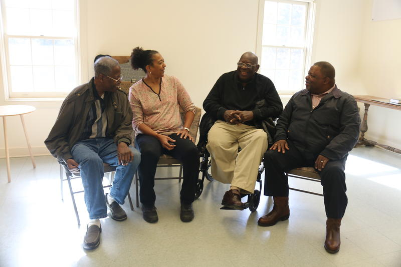 Four of the veterans who contributed stories to Serving God and Country meet in the church's Veteran's Recognition Room. (From left, Sam Matthews, Janice Johnson, Welford Jones, and Thomas Hutcherson)