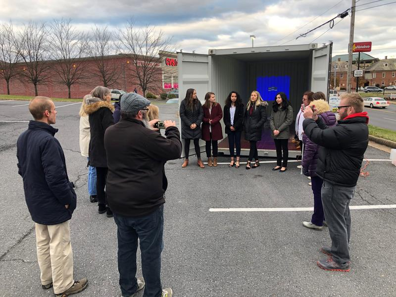 In the WMRA parking lot on Reservoir St., the students presented their idea for the container to help the Suitcase Clinic, with the help of professors through JMU's X-Labs.