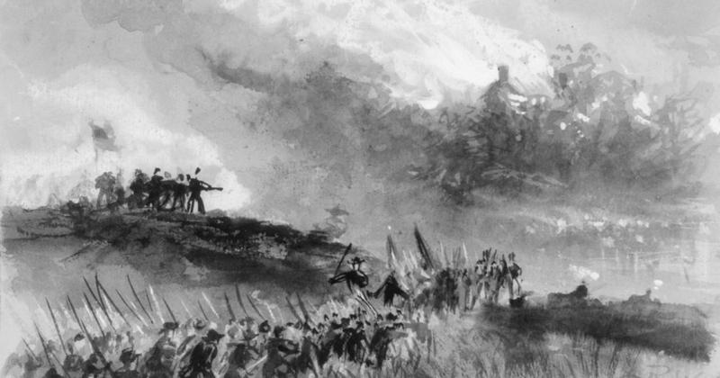 Artist Alfred Waud, who traveled to the Shenandoah Valley in 1864, painted this scene depicting Union soldiers burning a Valley home.