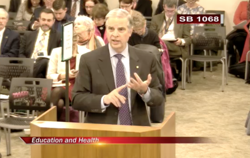 State Senator Mark Obenshain of Harrisonburg talks to the Senate Education and Health Committee about his bill, prompted by JMU's controversial hiring of former Lt. Gov. Bill Bolling. The committee passed the bill unanimously.