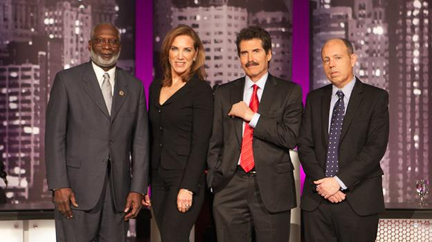 David Satcher (from left), Pamela Peeke, John Stossel and Paul Campos faced off in an Intelligence Squared U.S. debate on obesity Feb. 7 at the Skirball Center for the Performing Arts at New York University.