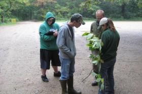 The DNR's Heidi Frei meets with restoration volunteers