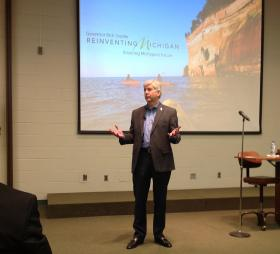 Michigan Governor Rick Snyder makes his presentation Wednesday at Kellogg Biological Station in Hickory Corners.