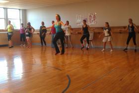 Joette Sawall teaching a class at West Michigan School of Middle Eastern Dance