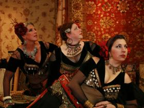 Sarah Schneider-Koning (center) with other members of Boheme Tribal Bellydance