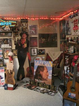 Just a small part of the Willie Nelson collection in Chris Nelsen's home.