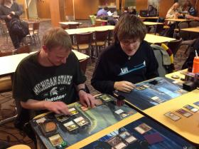 Members of the Western Michigan Gamers Guild playing Magic: The Gathering.