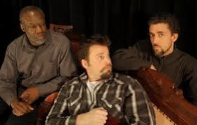 Rico Bruce Wade, Ben Riegel, and Scott Norman at Farmer's Alley Theatre.