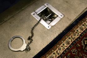 File photo of leg shackle at Guantanamo Bay, Cuba.
