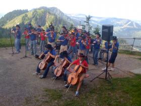The Saline Fiddlers performing in Germany during the summer of 2009.