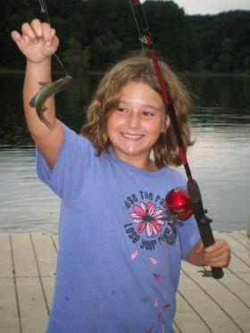Catching fish at Camp Linden