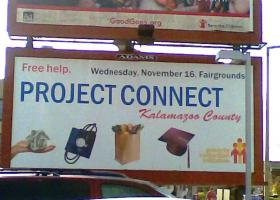 Billboard advertising a previous Project Connect event