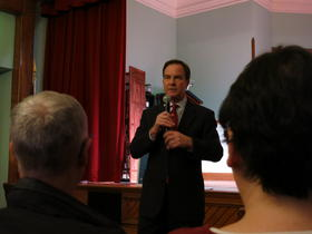 State Attorney General Bill Schuette speaks at a forum on human trafficking in Kalamazoo on Thursday.