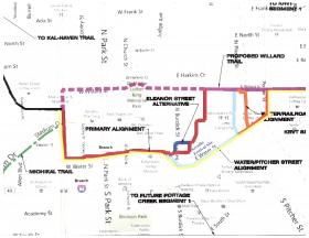 A map prepared for Kalamazoo County shows possible routes for a Kalamazoo River Valley Trail extension.