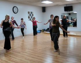 In February, Kendra Ray taught a workshop for area belly dancers at Strength Beyond Fitness Center in Kalamazoo
