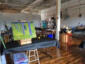 Elaine Dalcher's studio is divided into teaching space, work space, and lounging space for visitors.