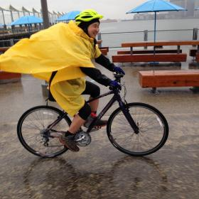 The author braves the rain in order to get in a good bike session.
