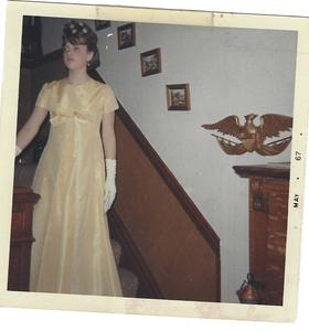 Anne-Marie Oomen in her high school prom dress