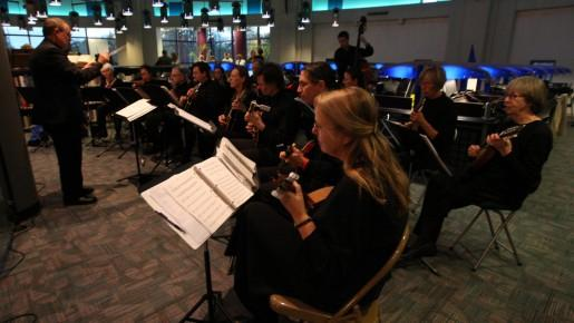 The Kalamazoo Mandolin Orchestra performing at the Kalamazoo Public Library downtown in 2008.