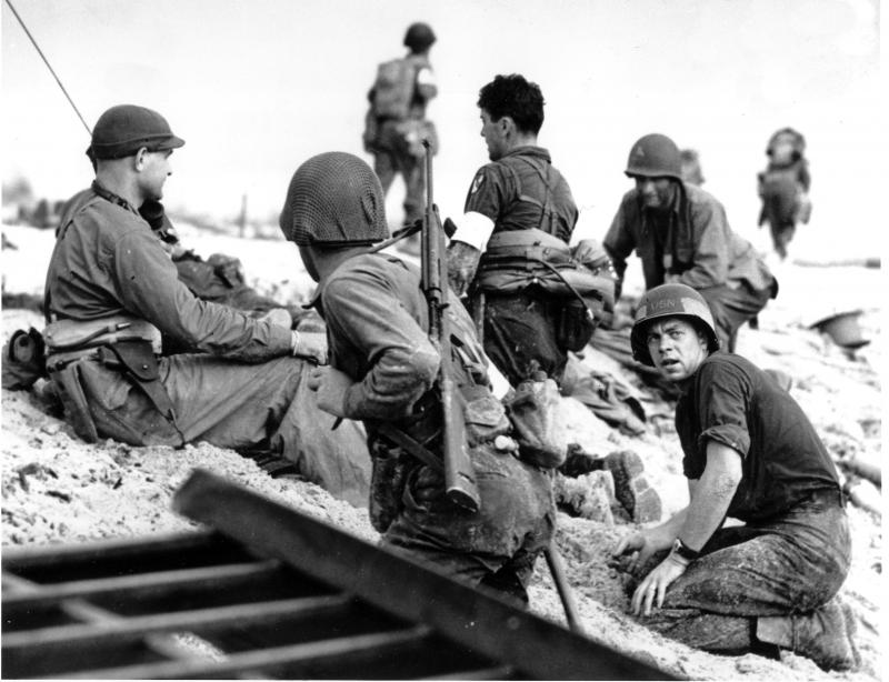 Soldiers in southern France on D-Day, June 6, 1944 during World War II.