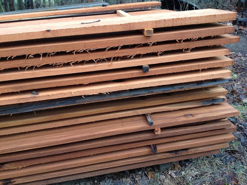 Planks of lumber drying