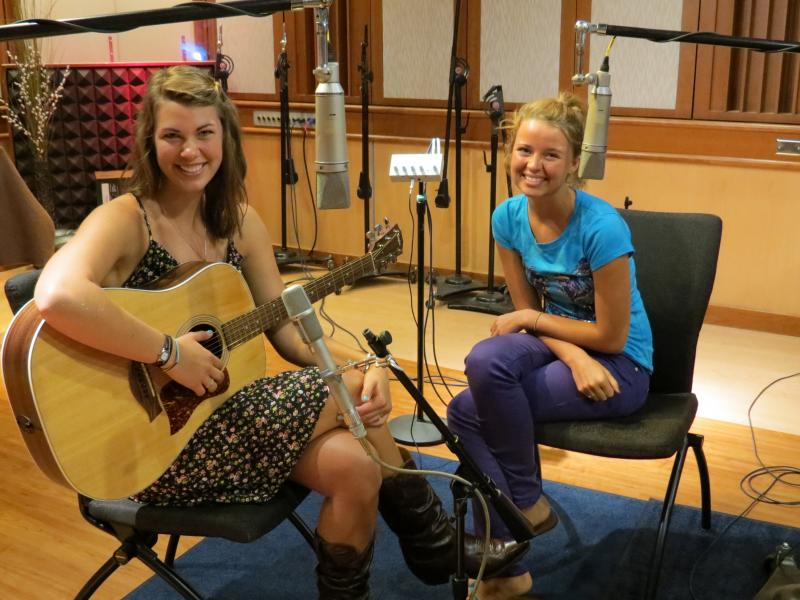 Grace Theisen (left) and Hannah Doan (right) in the WMUK studio.