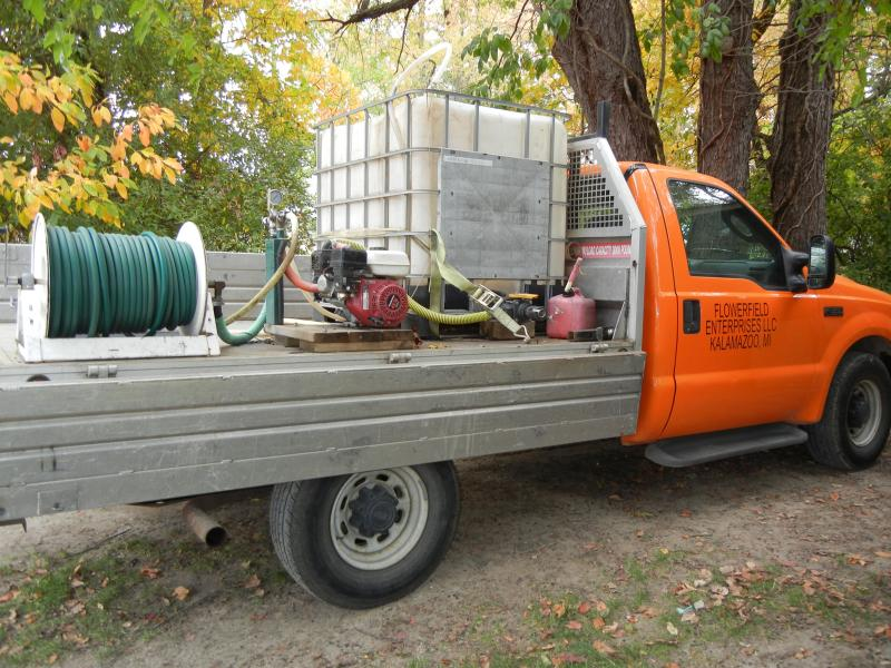 Flowerfield Enterprises' truck they use to spread compost tea